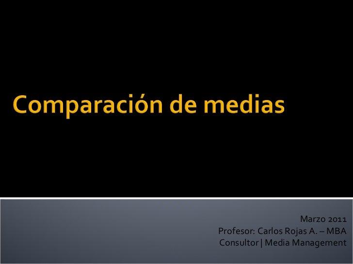 Marzo 2011 Profesor: Carlos Rojas A. – MBA Consultor   Media Management