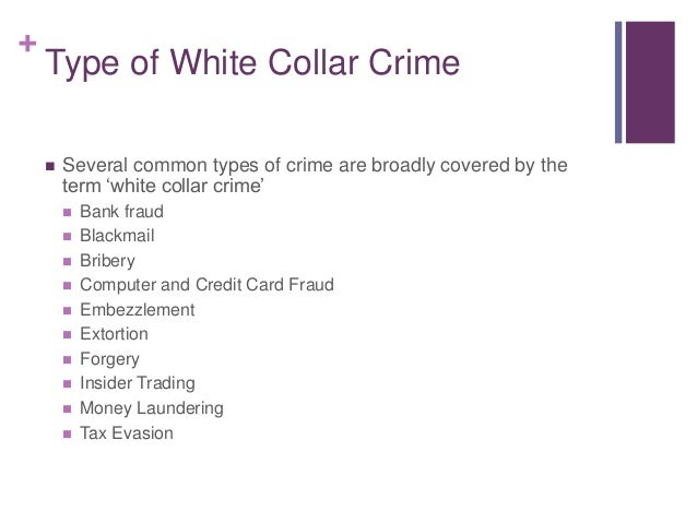 essay on white collar crime Although white collar crime costs an estimated $300 billion annually in the united states alone, few perpetrators are caught and even fewer of receive any sort of punishment analysis white collar.