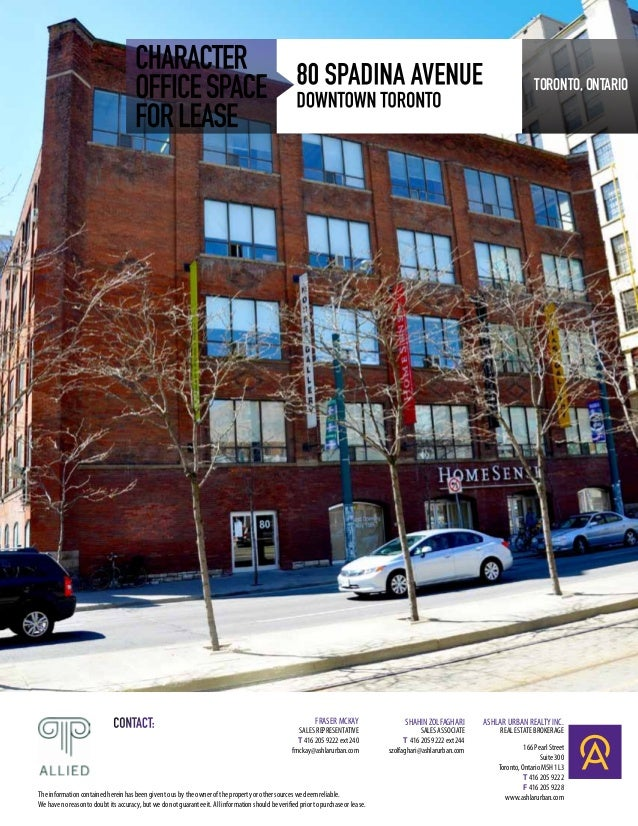 CHARACTER 80 SPADINA AVENUE                                      OFFICE SPACE DOWNTOWN TORONTO                            ...