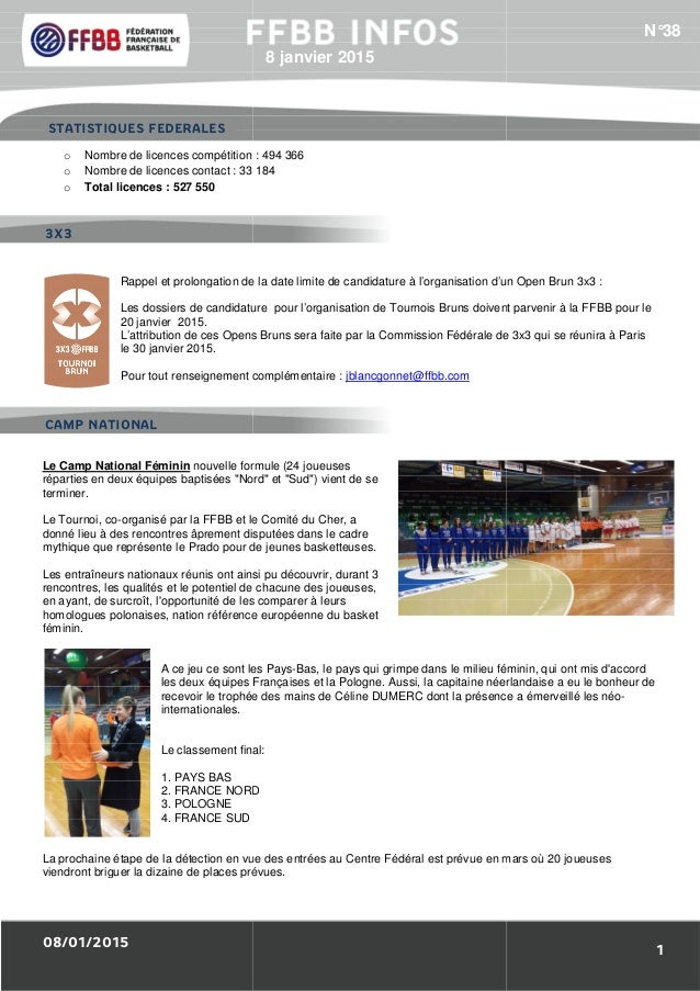 08/01/2015 1/Résultats des Equipes de France : o Nombre de licences compétition o Nombre de licences contact : 33 184 o To...