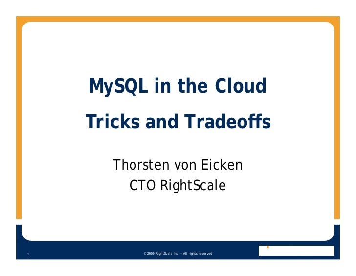 Tricks And Tradeoffs Of Deploying My Sql Clusters In The Cloud