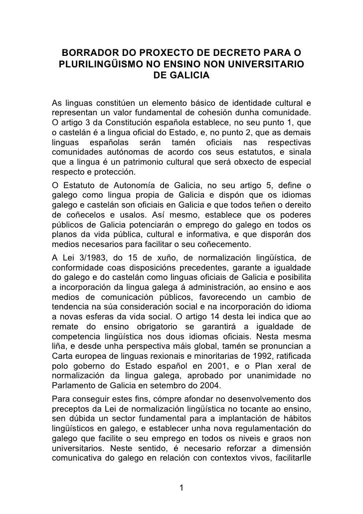 BORRADOR DO PROXECTO DE DECRETO PARA O  PLURILINGÜISMO NO ENSINO NON UNIVERSITARIO                  DE GALICIA  As linguas...