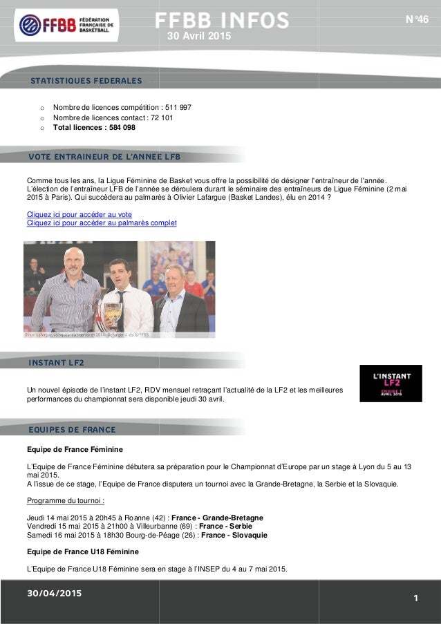 30/04/2015 1/Résultats des Equipes de France : o Nombre de licences compétition o Nombre de licences contact : 72 101 o To...