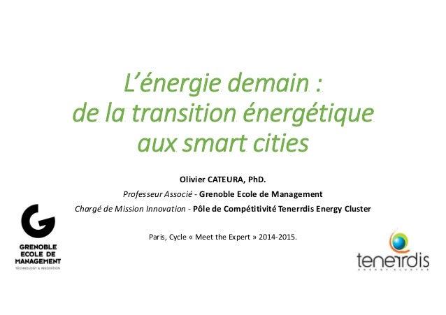 L'énergie demain : de la transition énergétique aux smart cities Olivier CATEURA, PhD. Professeur Associé - Grenoble Ecole...