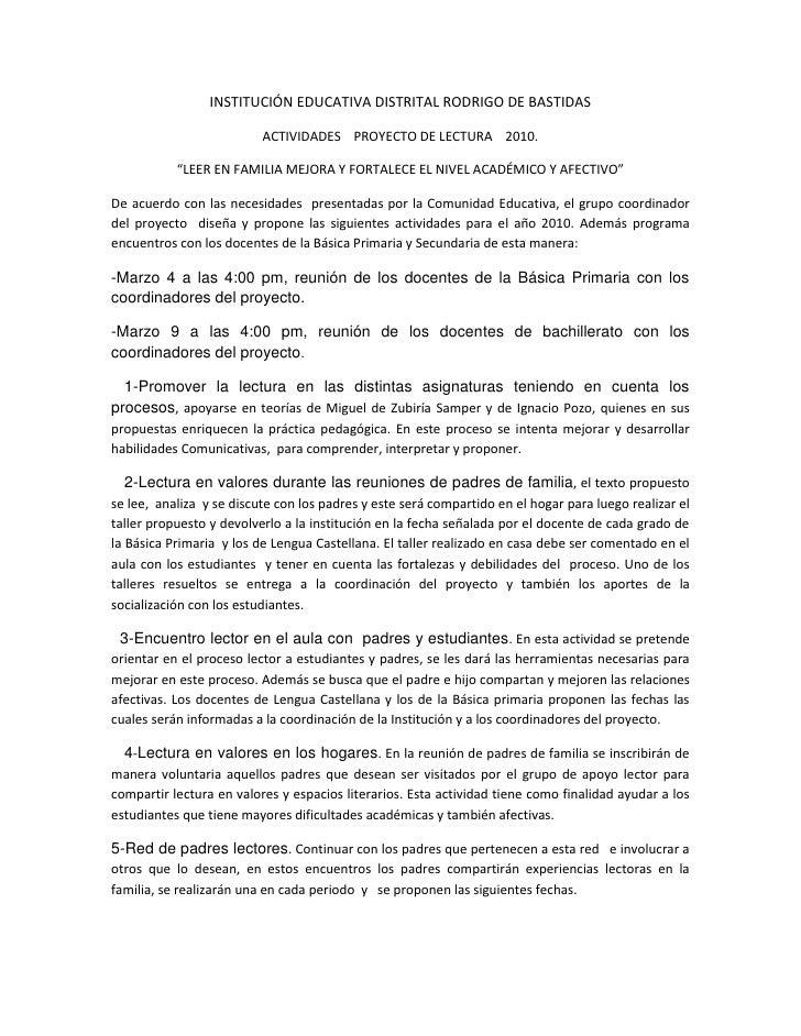"""INSTITUCIÓN EDUCATIVA DISTRITAL RODRIGO DE BASTIDAS<br />ACTIVIDADES    PROYECTO DE LECTURA    2010.<br />""""LEER EN FAMILIA..."""