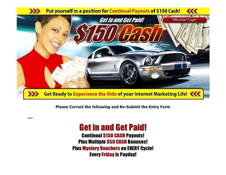 150 cash website text