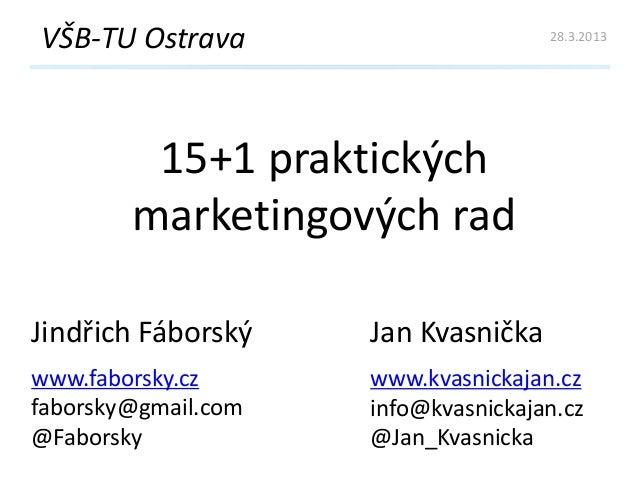 15+1 praktických marketingových rad