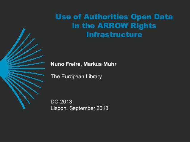 Use of Authorities Open Data in the ARROW Rights Infrastructure Nuno Freire, Markus Muhr The European Library DC-2013 Lisb...