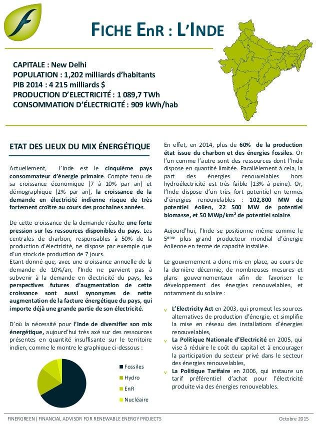 FICHE EnR : L'INDE Actuellement, l'Inde est le cinquième pays consommateur d'énergie primaire. Compte tenu de sa croissanc...