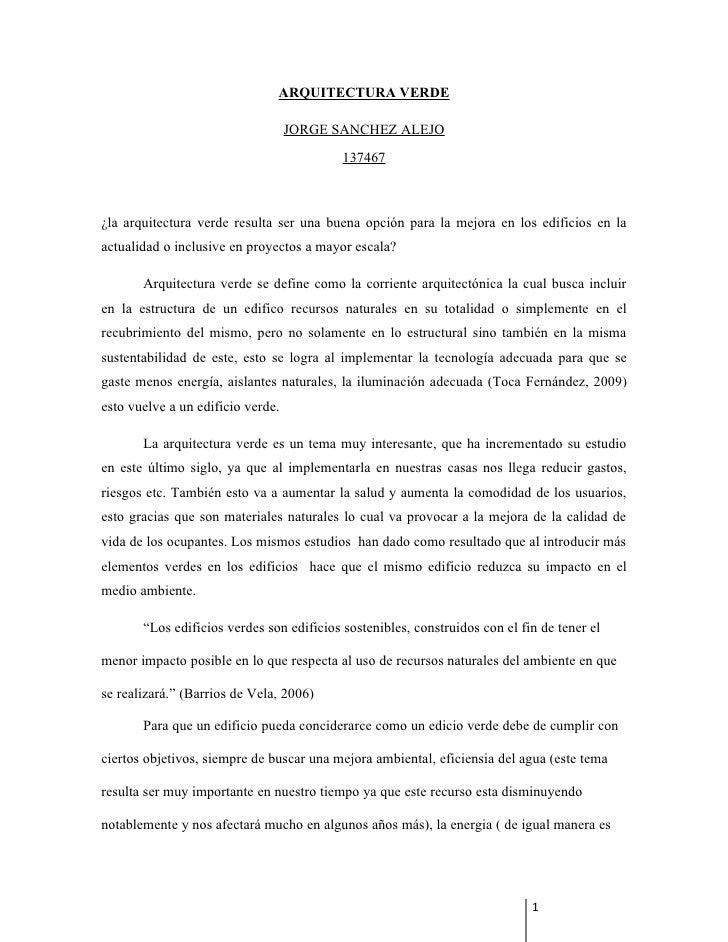 ARQUITECTURA VERDE                                   JORGE SANCHEZ ALEJO                                           137467¿...