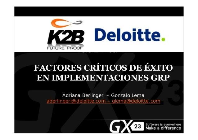 FACTORES CRÍTICOS DE ÉXITO EN IMPLEMENTACIONES GRP Ad