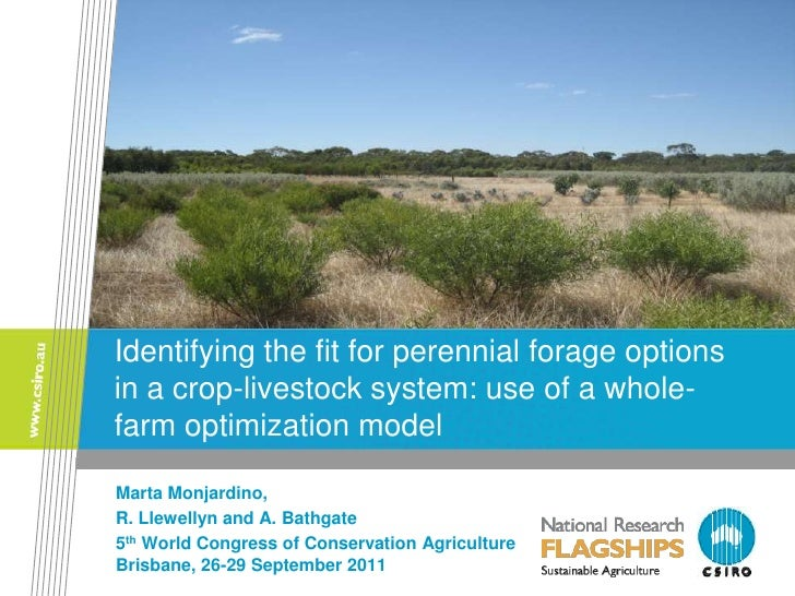Idenitifying the fit for perennial forage options in a crop-livestock system: use of a whole-farm optimization model. Marta Monjardino