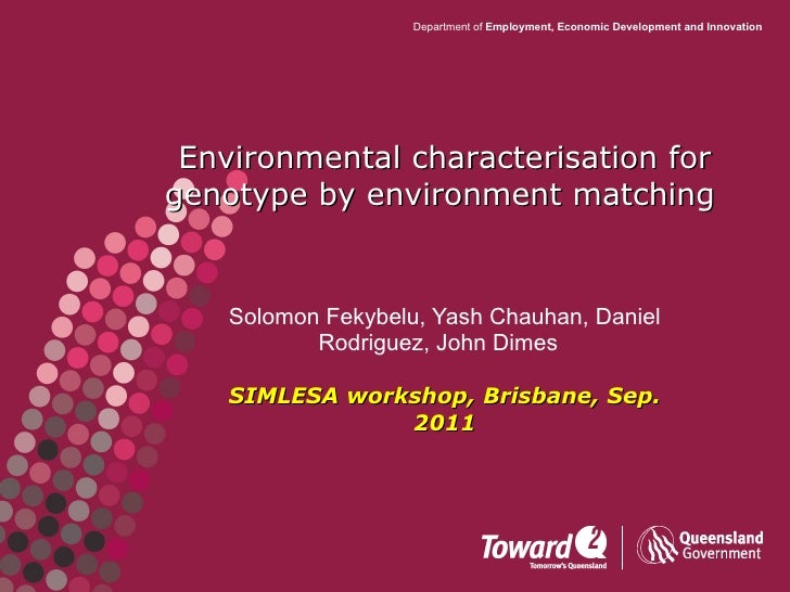 Environmental characteristisation for genotype by environment matching. SIMLESA workshop. Solomon Fekybelu