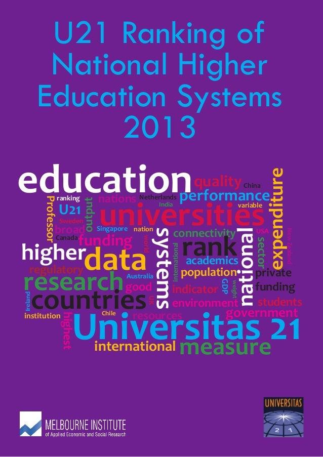 U21 Ranking ofNational HigherEducation Systems2013educationUniversitas 21countriesresearchmeasureuniversitiesdatasystemsna...