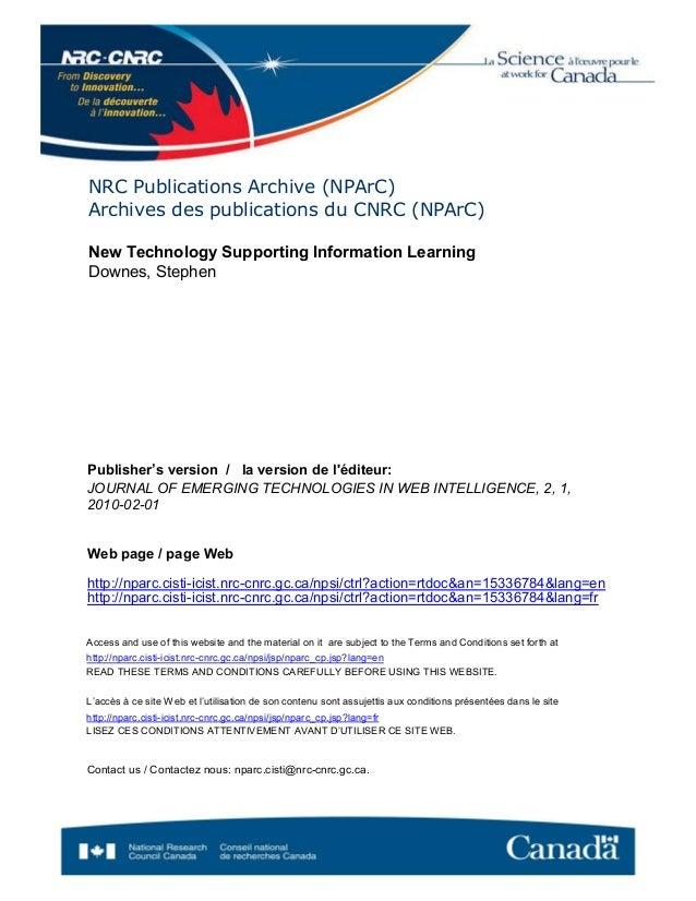 NRC Publications Archive (NPArC) Archives des publications du CNRC (NPArC) Publisher's version / la version de l'éditeur: ...