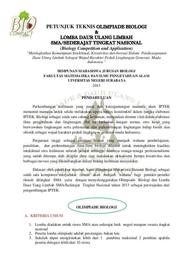 PETUNJUK TEKNIS OLIMPIADE BIOLOGI & LOMBA DAUR ULANG LIMBAH SMA/SEDERAJAT TINGKAT NASIONAL (Biology Competition and Applic...