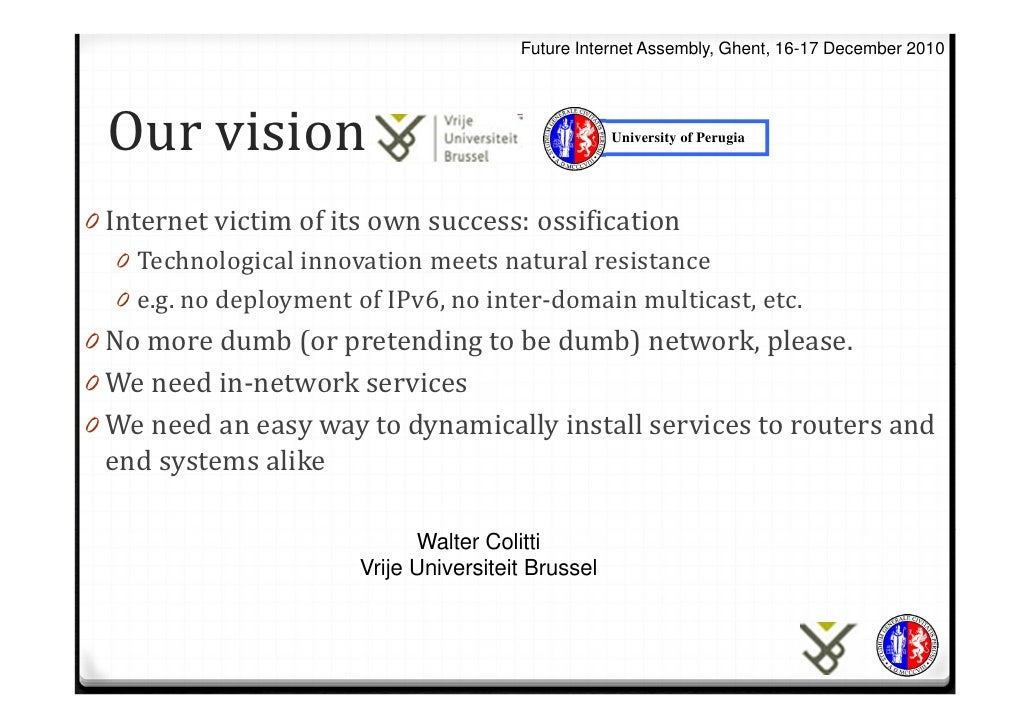 Walter Colitti (Vrije Universiteit Brussel): Our vision