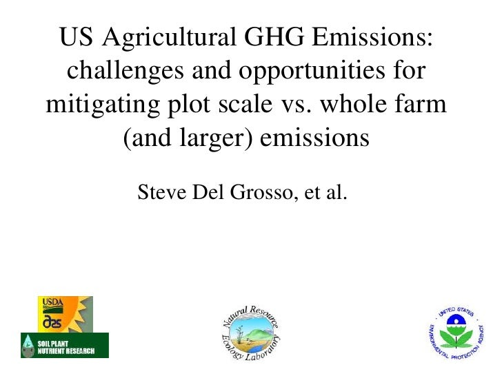 US agricultural GHG emissions: challenges and opportunities for mitigating plot scale vs. whole farm (and larger) emissions. Delgrosso