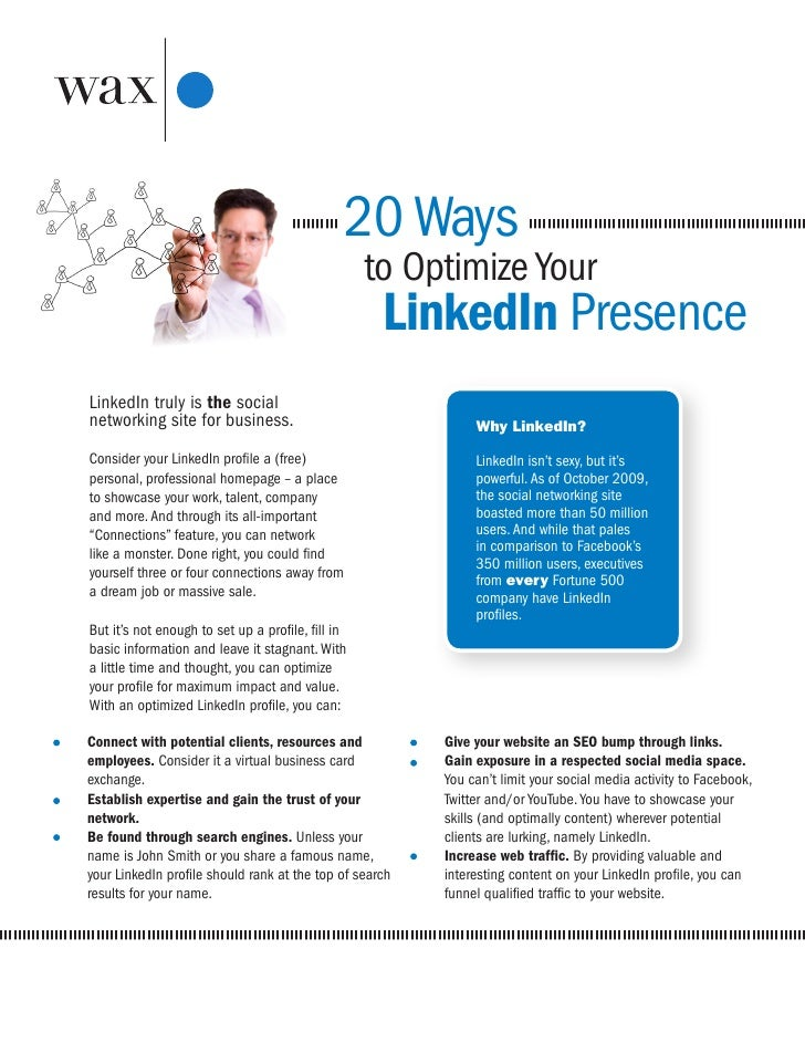20 Ways to Optimize Your LinkedIn Presence