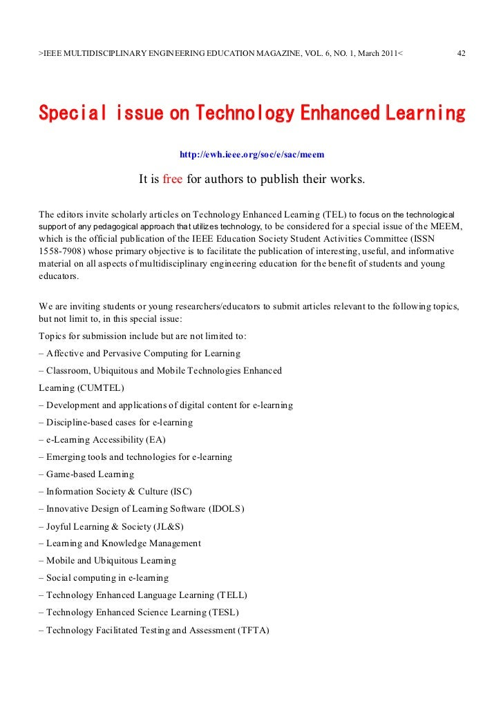 >IEEE MULTIDISCIPLINARY ENGINEERING EDUCATION MAGAZINE, VOL. 6, NO. 1, March 2011<                           42Special iss...