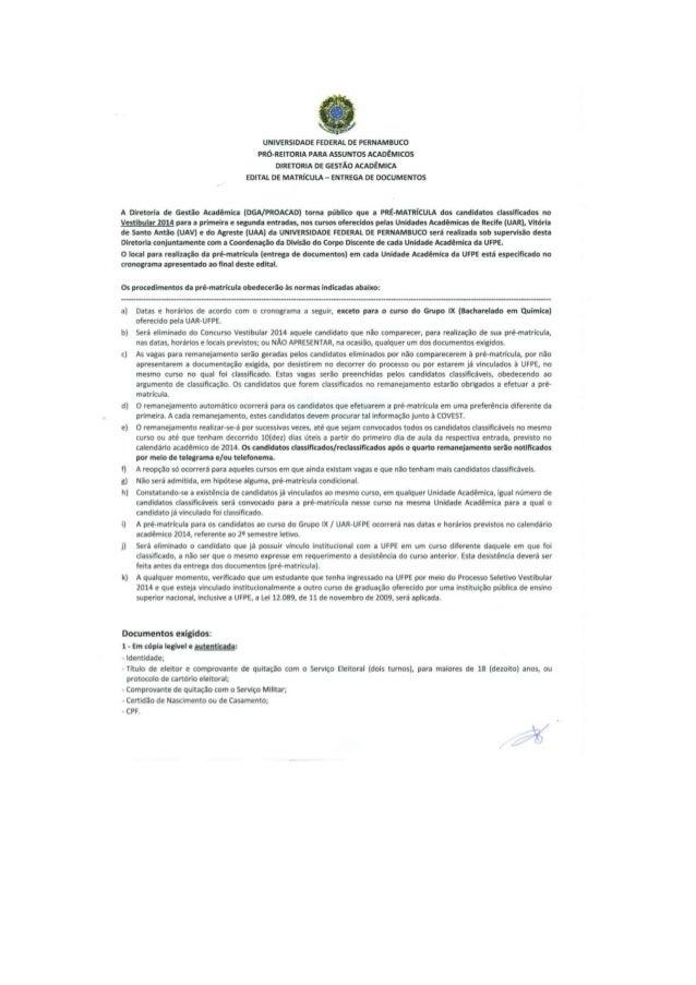 VESTIBULAR UFPE 2014 - EDITAL DE MATRÍCULA