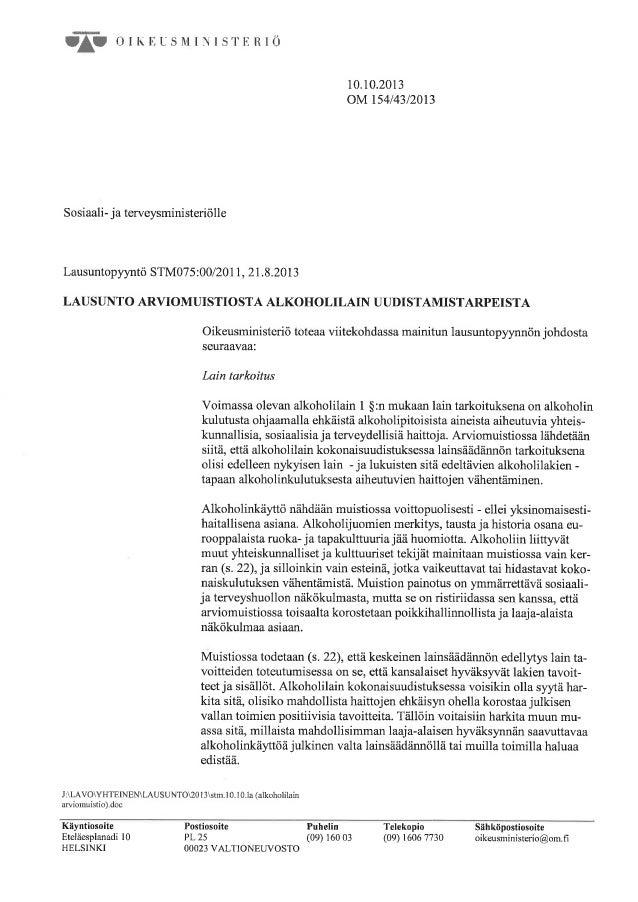 Oikeusministeriön lausunto STM:lle alkoholilain kokonaisuudistuksesta.