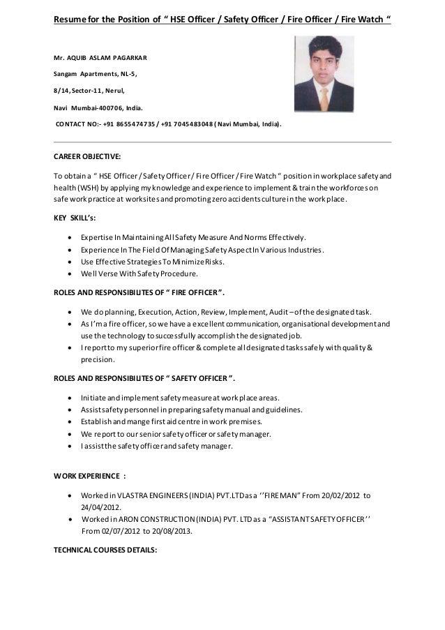 First officer sample resume