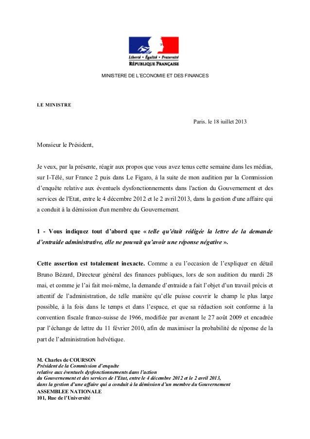 MINISTERE DE L'ECONOMIE ET DES FINANCES LE MINISTRE Paris, le 18 juillet 2013 Monsieur le Président, Je veux, par la prése...