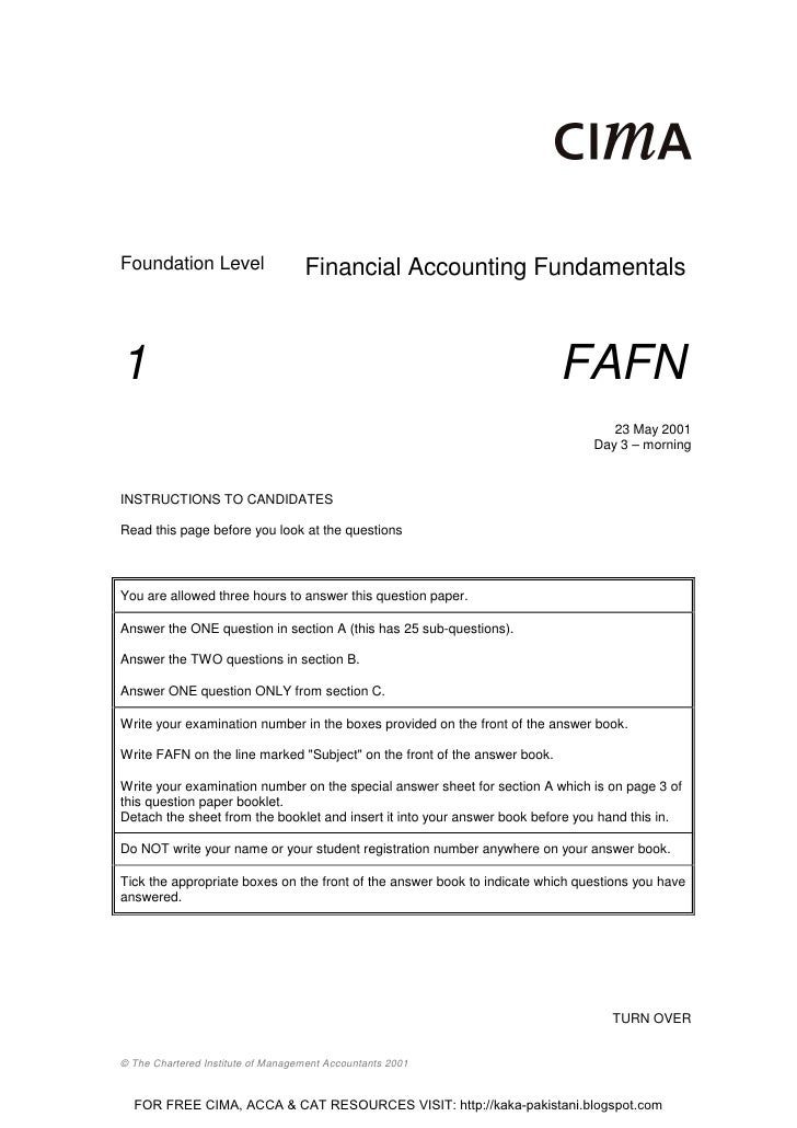 Foundation Level                   Financial Accounting Fundamentals1                                                     ...