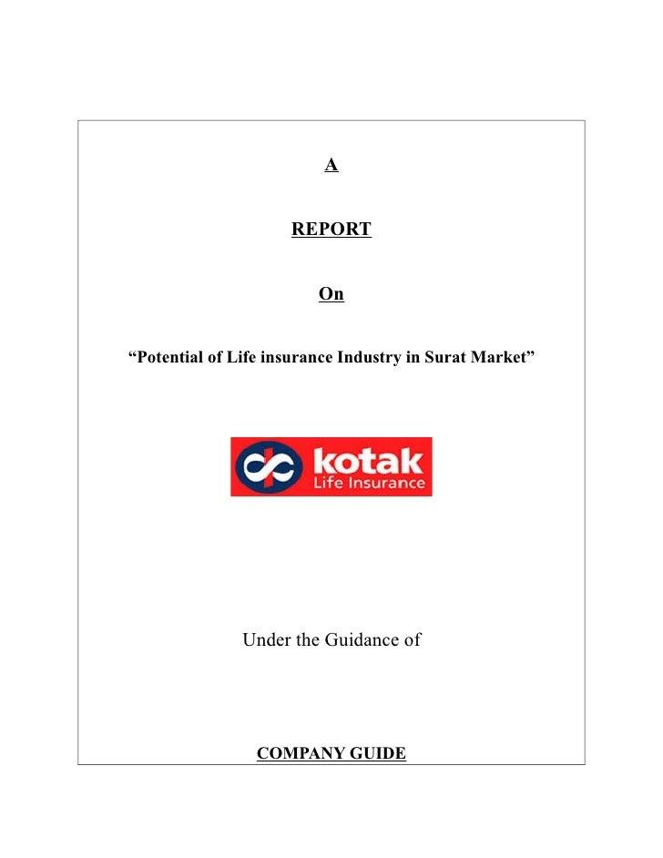 15596379 final-project-report-on-life-insurance-kotak