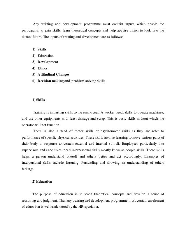 thesis on evaluation of training and development Keywords: training, development,  evaluation of training organization training and development philosophy philosophy is the starting point to wisdom.