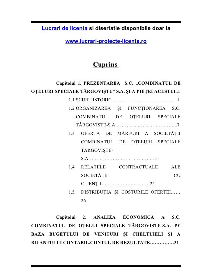 Lucrari de licenta si disertatie disponibile doar la             www.lucrari-proiecte-licenta.ro                          ...