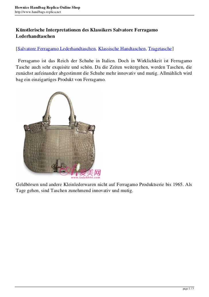 Hownice Handbag Replica Online Shophttp://www.handbags-replica.netKünstlerische Interpretationen des Klassikers Salvatore ...