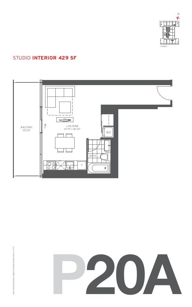 """N  + 20  FLOOR: 2  studio Interior 429 SF  BALCONY 123 SF  LIVE/DINE 13'-0"""" x 16'-10"""" W/D  BATH  Sizes and specifications ..."""