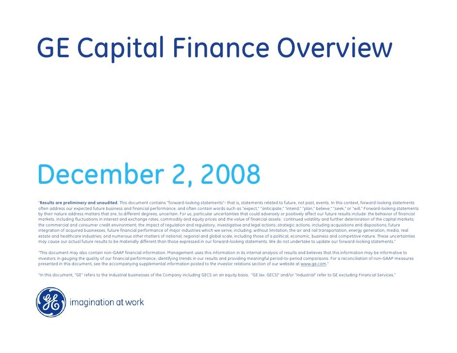 GE-Financial Services Investor Meeting