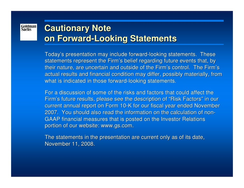 Goldman Sachs Presentation at the 2008 Merrill Lynch Banking and Financial Services Investor Conference