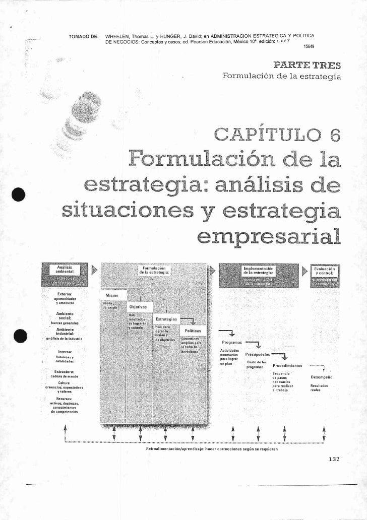 Formulación de la Estrategia: Análisis de situaciones y estrategia empresarial 15649