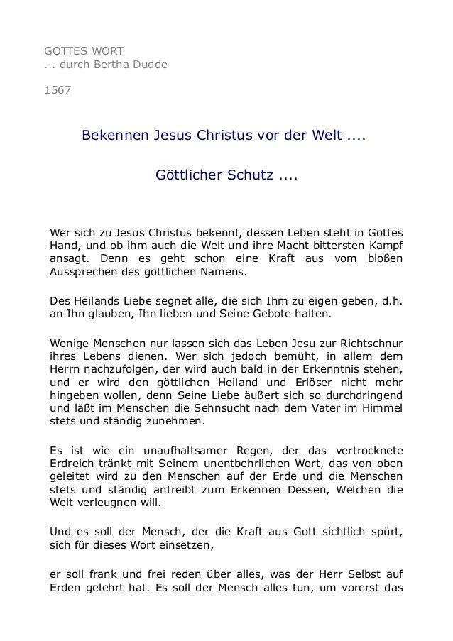 GOTTES WORT ... durch Bertha Dudde 1567  Bekennen Jesus Christus vor der Welt .... Göttlicher Schutz ....  Wer sich zu Jes...