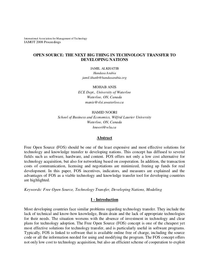 International Association for Management of Technology IAMOT 2008 Proceedings          OPEN SOURCE: THE NEXT BIG THING IN ...
