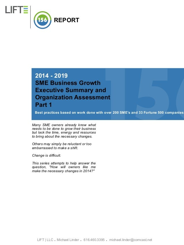 156  REPORT  156  2014 - 2019 SME Business Growth Executive Summary and Organization Assessment Part 1  Best practices bas...