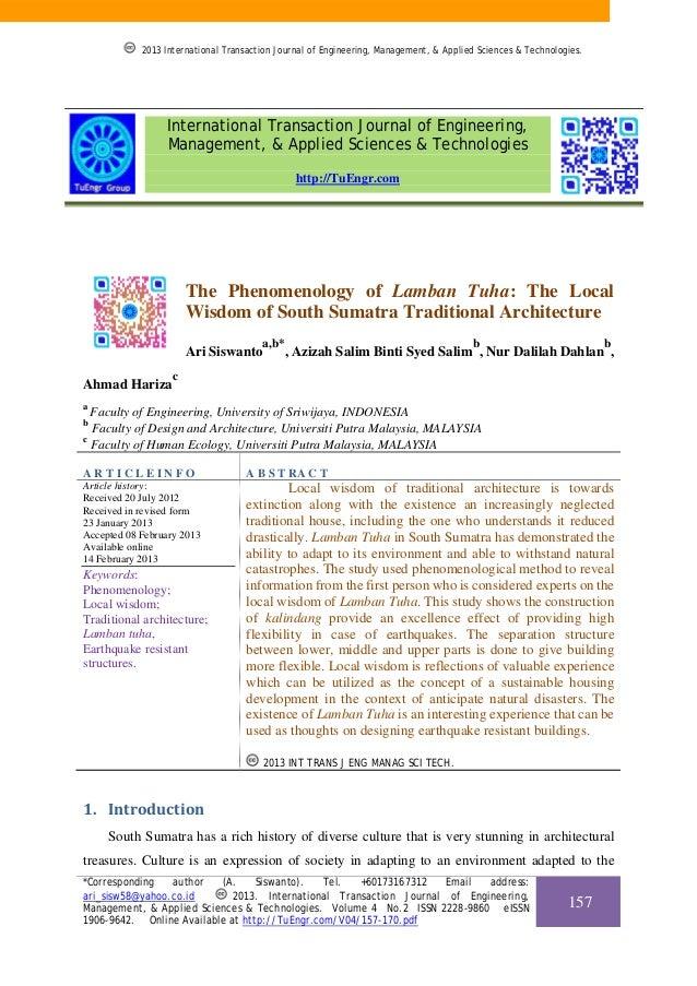 2013 International Transaction Journal of Engineering, Management, & Applied Sciences & Technologies.  International Trans...