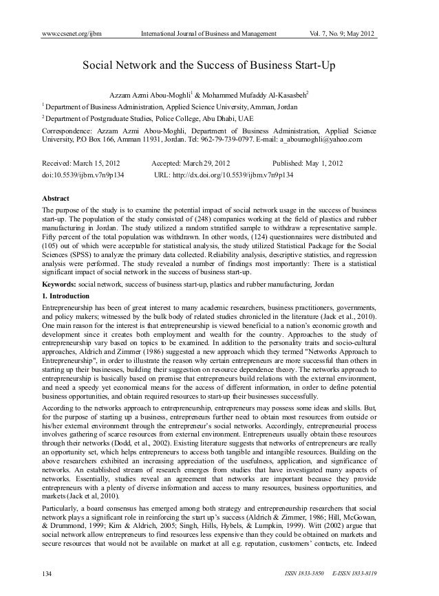 www.ccsenet.org/ijbm  International Journal of Business and Management  Vol. 7, No. 9; May 2012  Social Network and the Su...
