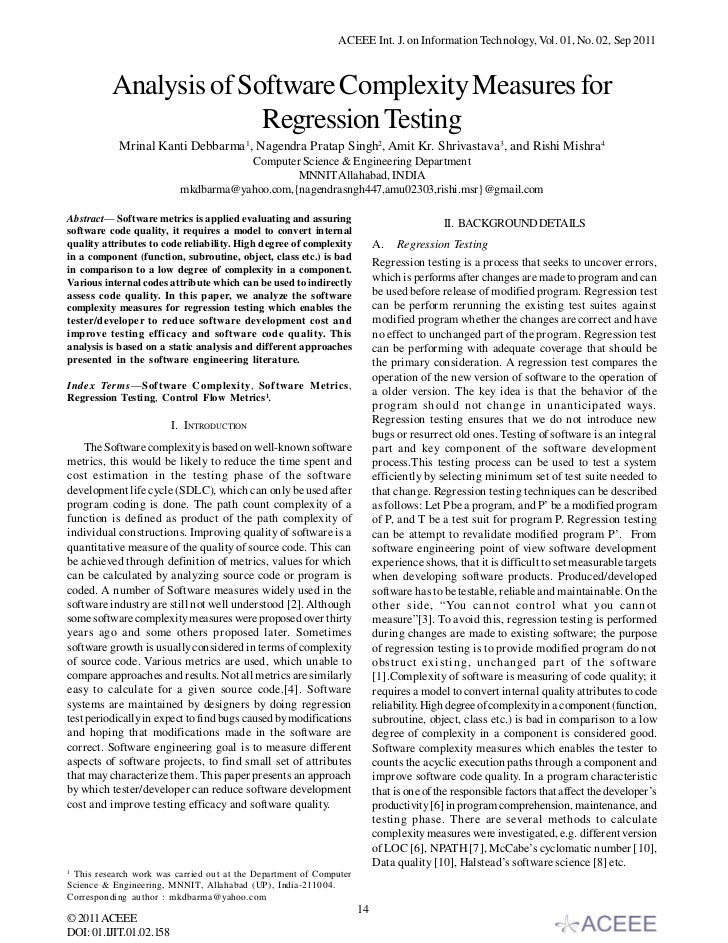 Analysis of Software Complexity Measures for Regression Testing
