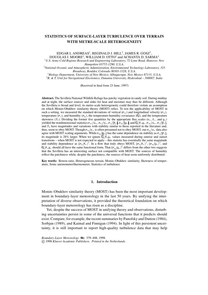 STATISTICS OF SURFACE-LAYER TURBULENCE OVER TERRAIN             WITH METRE-SCALE HETEROGENEITY           EDGAR L ANDREAS1 ...