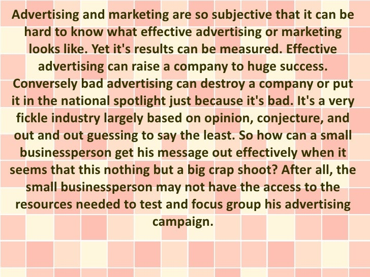 What Makes Advertising Effective?