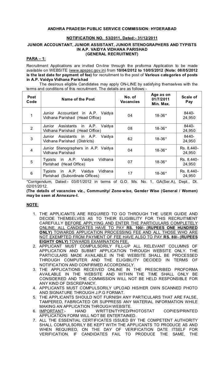 ANDHRA PRADESH PUBLIC SERVICE COMMISSION: HYDERABAD                      NOTIFICATION NO. 53/2011, Dated:- 31/12/2011JUNIO...