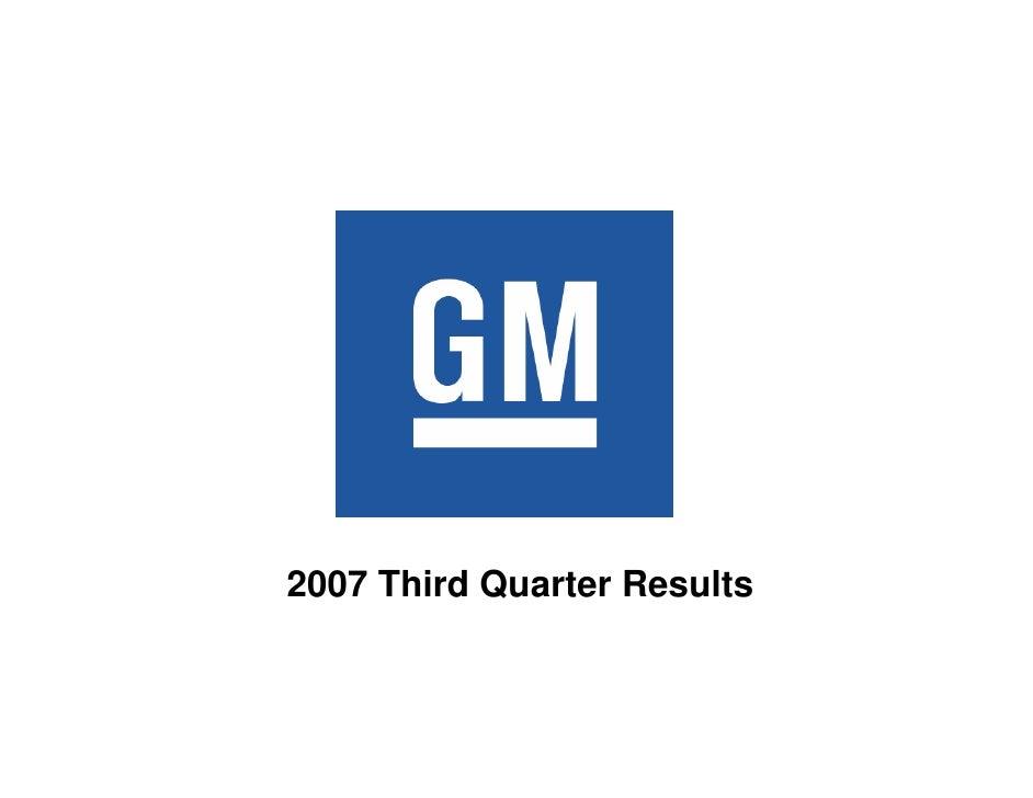 Earning Presentation of General Motors: Q3 2007
