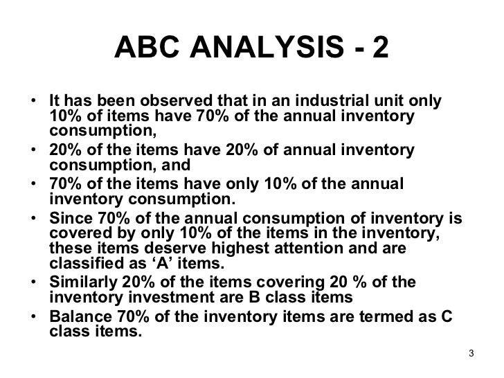 abc inventory control Definition: the abc inventory control system is applied by those firms that have to maintain several types of inventories ideally, it is not desirable to keep the same degree of control over all the.