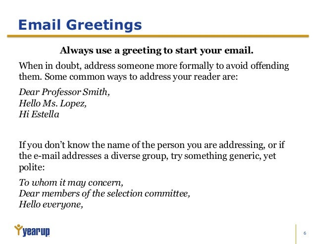 NEW GREETING FOR FORMAL EMAIL