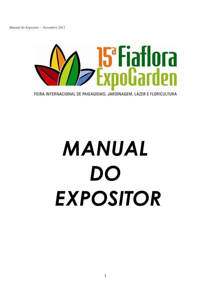 15ª Fiaflora Expogarden - Manual do Expositor